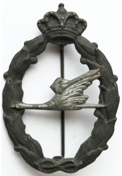Аверс и реверс знака спасателя в серебре. Королевство.