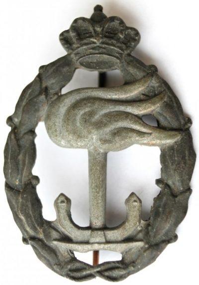 Аверс и реверс знака морского наблюдателя в серебре. Королевство.