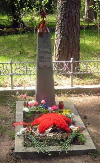 п. Курголово Кингисеппского р-на. Памятник, установленный на братской могиле, в которой захоронено 4 летчиков, погибших во время Советско-Финской войны.