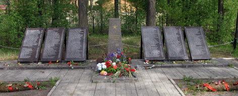 п. Токсово Всеволожского р-на. Памятник, установленный на братской могиле, в которой захоронено 350 советских воинов.