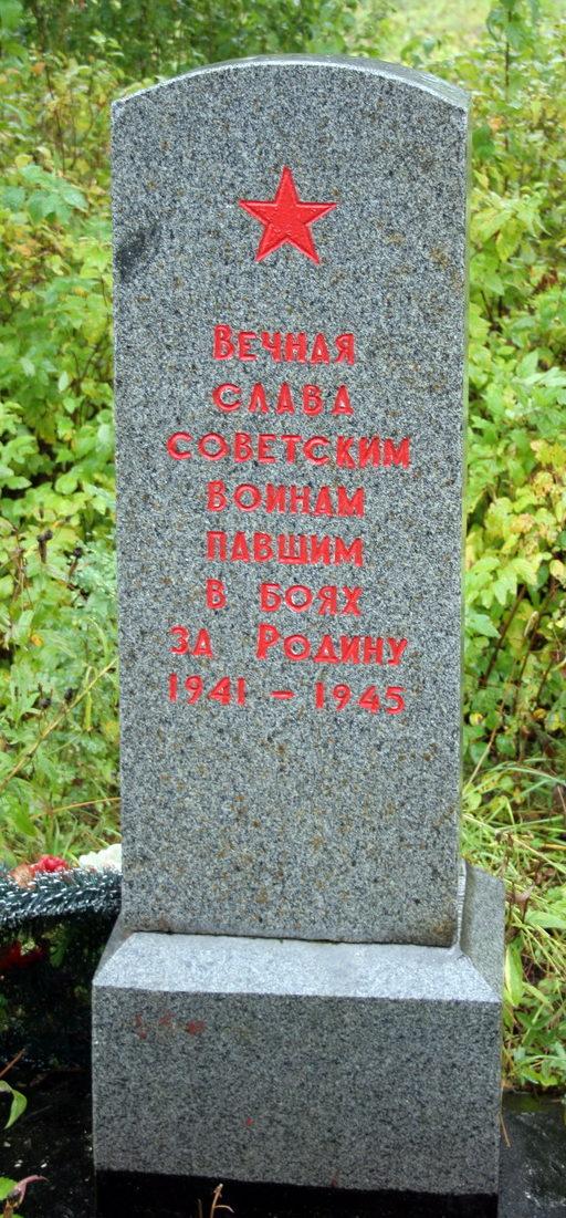 д. Луизино Кингисеппского р-на. Памятник, установленный на братской могиле, в которой захоронено 8 советских воинов, в т.ч. 4 неизвестных.