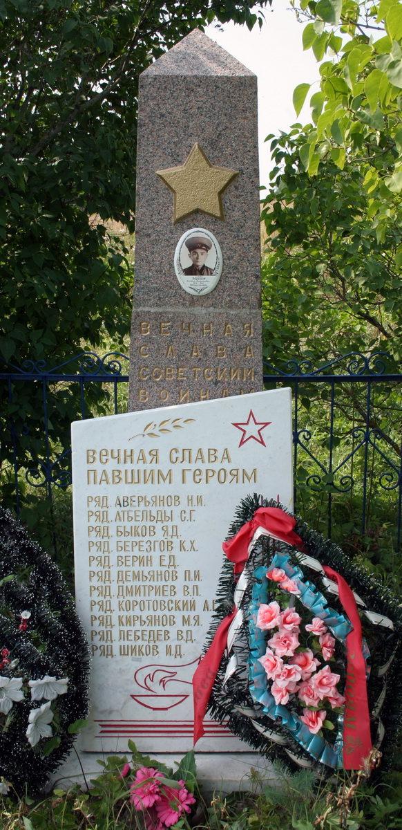 д. Перелесье Кингисеппского р-на. Памятник, установленный на братской могиле, в которой захоронено 30 советских воина, в т.ч. 14 неизвестных.