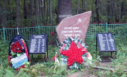 д. Пятчино Кингисеппского р-на. Памятник, установленный на братской могиле, в которой захоронено 38 советских воина, в т.ч. 6 неизвестных.