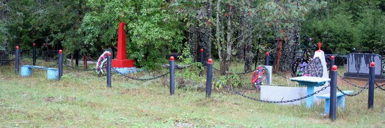 д. Тарайка Кингисеппского р-на. Памятник, установленный на братской могиле, в которой захоронено 10 советских воина, в т.ч. 5 неизвестных.