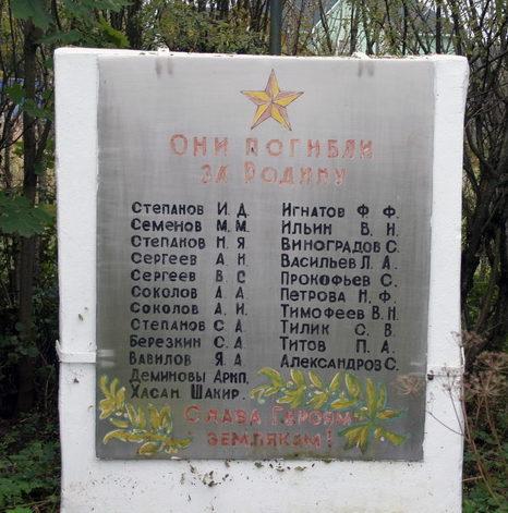 д. Торма Кингисеппского р-на. Памятник погибшим землякам.