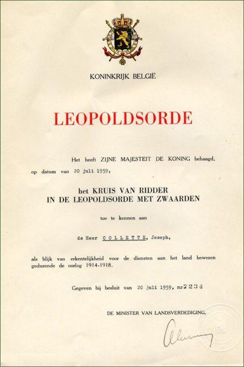 Дипломы о награждении Орденом Леопольда I с мечами.