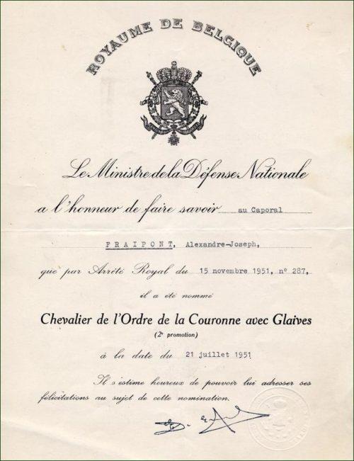 Дипломы о награждении знаком Кавалера Ордена Короны с мечами.