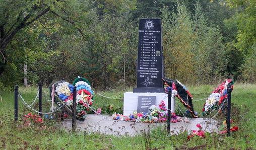 д. Бор Тихвинского р-на. Памятник, на котором увековечено имена 12 погибших земляков.
