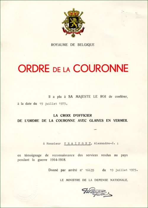 Диплом о награждении знаком Офицера Ордена Короны с мечами.