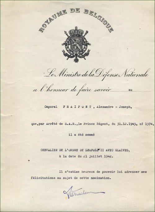 Дипломы о награждении знаком Кавалера Ордена Леопольда II с мечами.