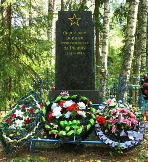 д. Малая Ящера Лужского р-на. Памятник на кладбище установлен на братской могиле советских воинов.