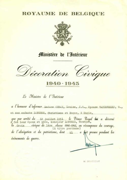 Свидетельство о награждении крестом 1-й степени Гражданского знака отличия 1940-1945.
