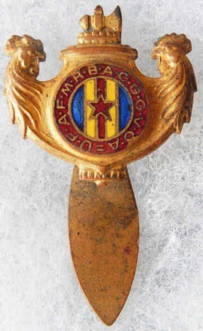 Аверс и реверс знака ассоциации ветеранов департамента Эн.