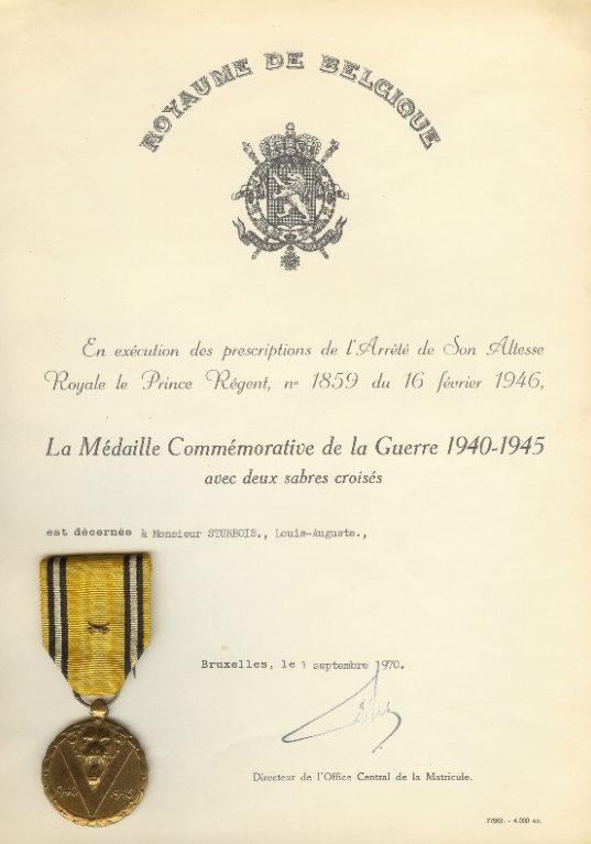 Свидетельство о награждении памятной медалью войны 1940-1945.