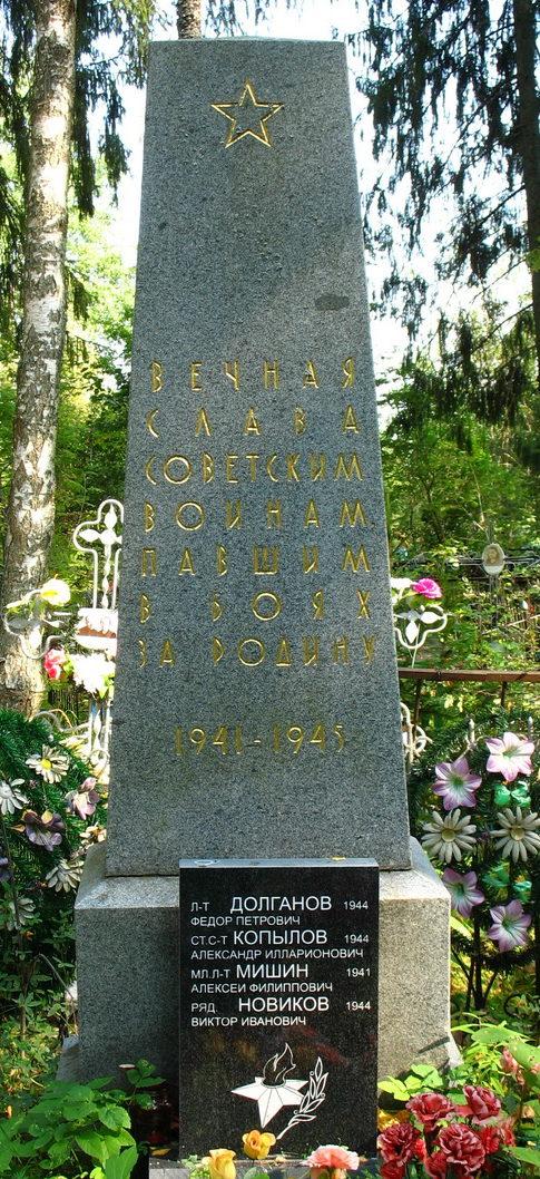 д. Низовская Лужского р-на. Памятник на кладбище, установленный на братской могиле, в которой похоронено 3 советских воина.