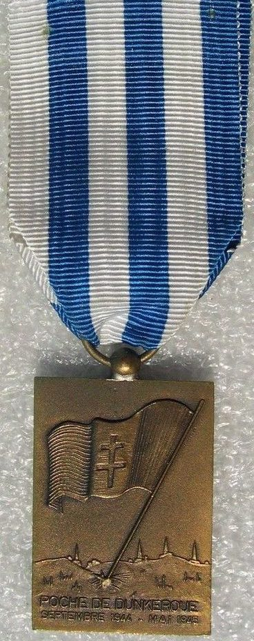 Аверс и реверс памятной медали освобождения Дюнкерка.