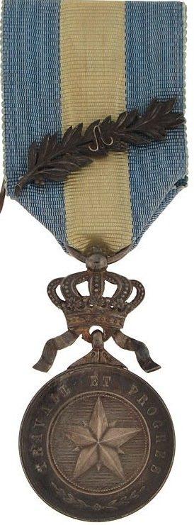 Аверс и реверс серебряной медали ордена Африканской звезды.