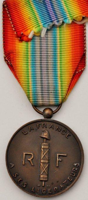 Аверс и реверс медали Освобождённой Франции.