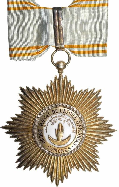Аверс и реверс знака Великого офицера ордена Звезды Анжуана на шейной ленте.
