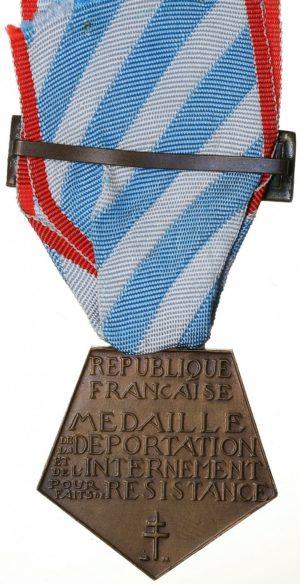 Аверс и реверс медали интернированных за участие в Сопротивлении.
