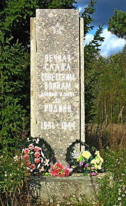 д. Поддубье Лужского р-на. Памятник, установленный на братской могиле, в которой похоронено 3 советских воина.
