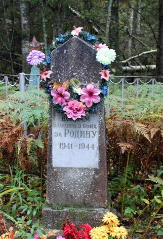 д. Рапля Тихвинского р-на. Памятники, установленные на братских могилах, в которых захоронено 40 советских воинов.