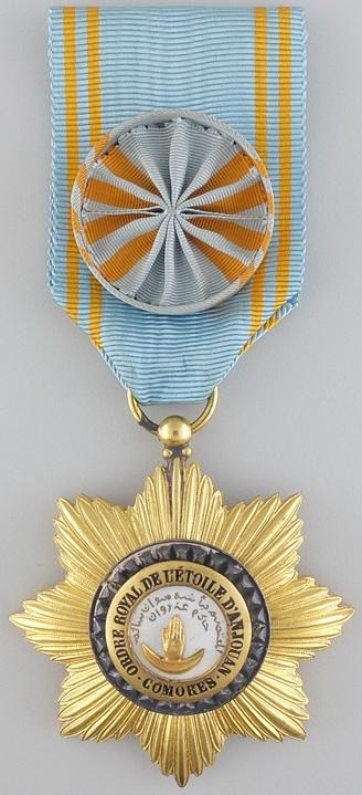 Аверс и реверс знака Офицера ордена Звезды Анжуана с розеткой на ленте.
