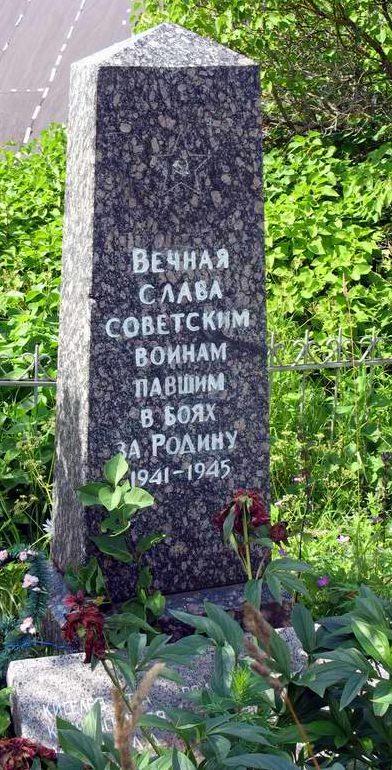 д. Стаи Лужского р-на. Памятник, установленный на братской могиле, в которой похоронено 19 советских воинов, в т.ч. 7 неизвестных.