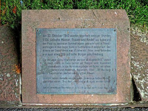 г. Фрайбург-им-Брайсгау. Памятный знак в память о депортации 6 504 евреев из Фрайбурга в концлагеря.
