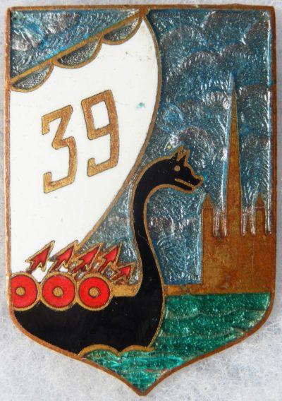 Аверс и реверс знака 39-го пехотного полка.
