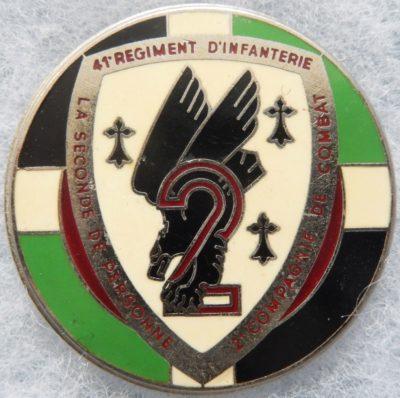 Аверс и реверс знака 2-ой роты 41-го пехотного полка.
