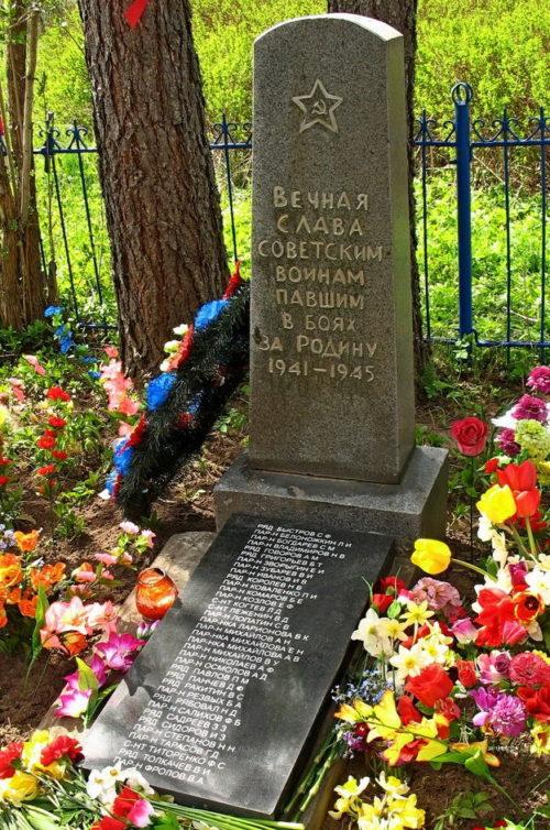 д. Хабалинка Лужского р-на. Памятник, установленный на братской могиле, в которой похоронено 25 советских воинов, в т.ч. 14 неизвестных.