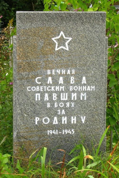 д. Щупоголово Лужского р-на. Памятник на кладбище, установленный на братской могиле, в которой захоронено 12 советских воинов.