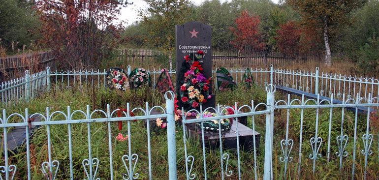 д. Казыченская Ладва Подпорожского р-на. Памятник на кладбище, установленный на братской могиле, в которой похоронено 8 советских воинов.