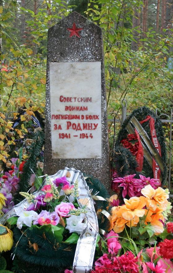 д. Лукинская Подпорожского р-на. Памятник на кладбище, установленный на братской могиле, в которой похоронен 21 советский воин.