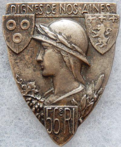 Аверс и реверс знака 56-го пехотного полка.