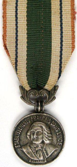 Аверс и реверс серебряной медали медаль Dupleix 1-го класса.