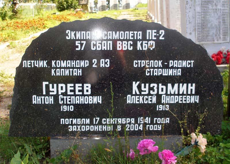 Памятник на могиле экипажу самолёта ПЕ-2.