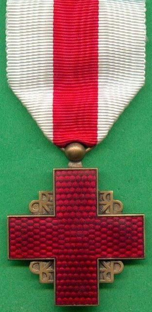 Аверс и реверс бронзового знака благодарности Французского Красного Креста.