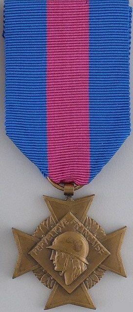 Аверс и реверс бронзового креста «За добровольную воинскую службу» 3-й степени II типа.