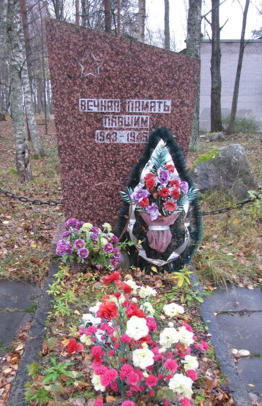 ст. Лосево Приозерского р-на. Памятник, установленный на братской могиле, в которой захоронено 11 неизвестных солдат.