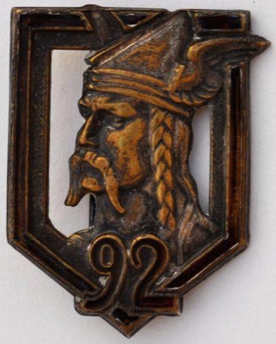 Аверс и реверс знака 92-го пехотного полка.