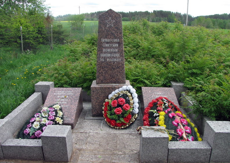 п. Петровское Приозерского р-на. Памятник на братской могиле, в которой похоронено 2 советских воинов.