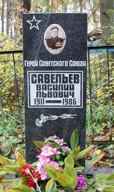 д. Федоровское Тосненского р-на. Памятник на могиле Героя Советского Союза Савельева В. Л. на деревенском кладбище.