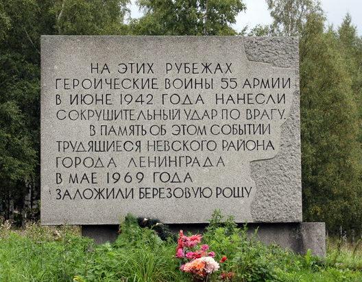 д. Ям-Ижора Тосненского р-на. Памятный знак воинам 55-й армии.