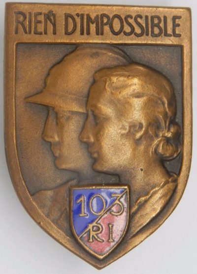 Аверс и реверс знака 103-го пехотного полка.