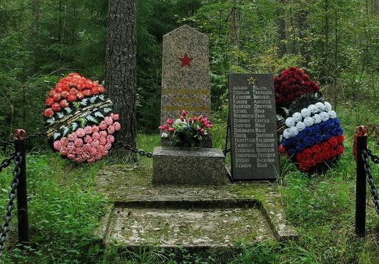 д. Раздолье Приозерского р-на. Памятник, установленный на братской могиле, в которой похоронено 17 советских воинов.