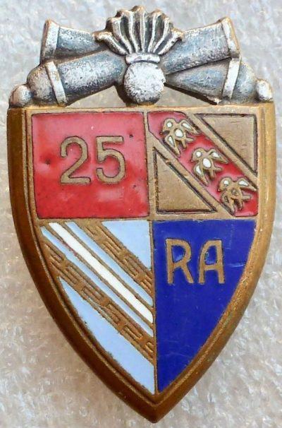 Аверс и реверс знака 25-го артиллерийского полка.