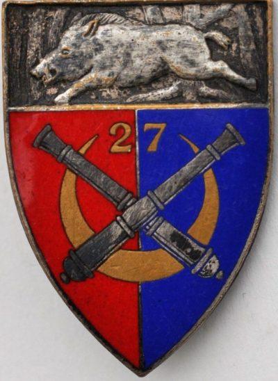 Аверс и реверс знака 27-го артиллерийского полка.