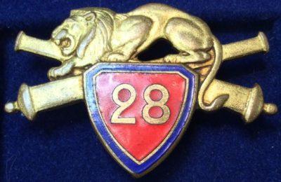 Аверс и реверс знака 28-го артиллерийского полка.